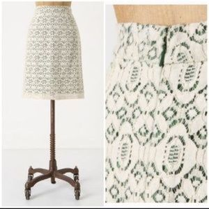 Anthropologie Edme and Estylle Green Lace Skirt
